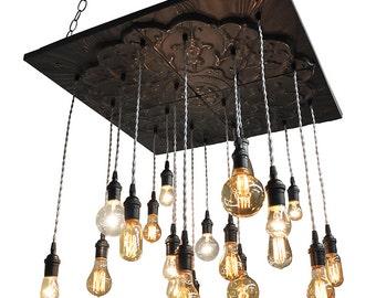 Black Industrial Tin Chandelier - Vintage Metal Chandelier With Nostalgic Bulbs