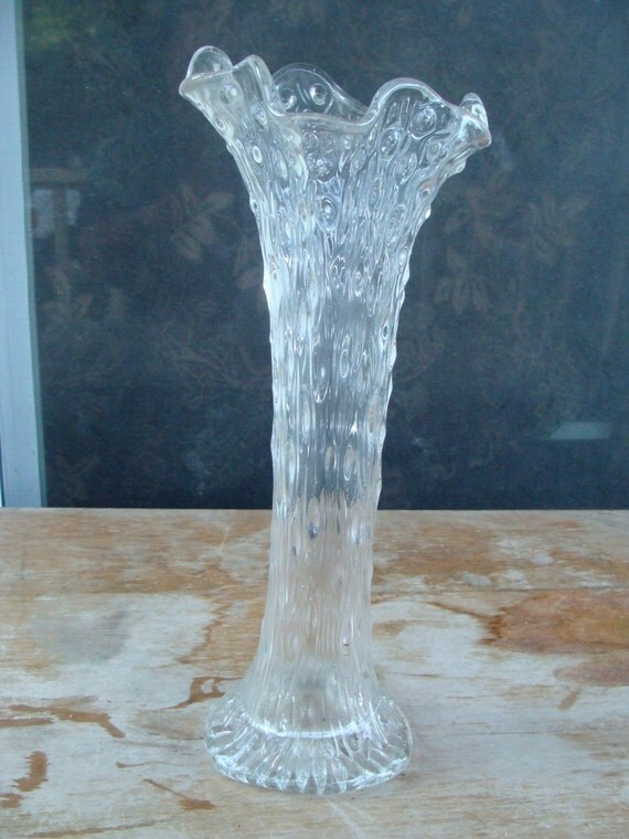 Beautiful Antique Clear Swung Stretch Glass Funeral Vase With