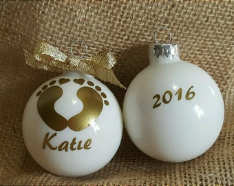 Christmas Personalized Baby Gold Ornament, Baby  First Christmas, First Ornament Gift, Baby feet