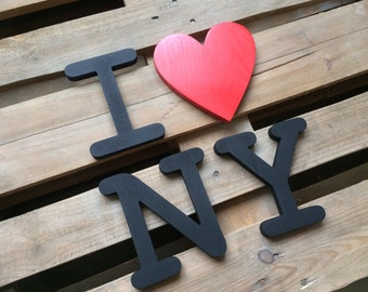 city name I love New York wooden letters, home decor,  wall art , wooden letters, wall hanging, bookshelf decor