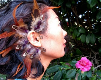 One of a kind tribal cruelty free feather ear cuff, natural feathers, handmade unique earcuff, festival feather earring, burning man jewelry