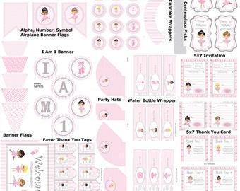Ballerina 1st Birthday, Printable Ballerina Party, Ballet Birthday Party, DIY Ballet Party Printables, Ballet Party - Printables 4 Less