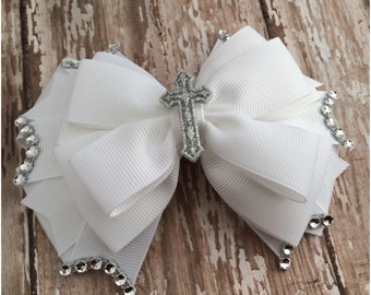 Baptism, Christening, First Communion or Wedding Layered Hair Bow, White Hairbow with Silver Cross