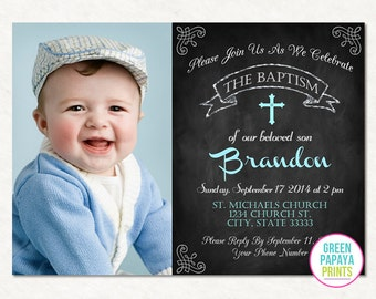 Boy's Baptism Invitation - Christening Invite - Dedication - Cross - Photo Invite - Printable Digital File - Blue - Mint - Holy Communion
