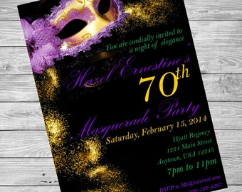 Masquerade Ball Invitations, Mardi Gras Invitation, Masquerade Printable Invition, Purple and Gold Masquerage Invitation