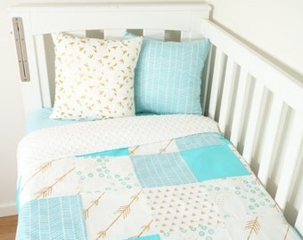 Patchwork quilt nursery items - Aqua, gold and white: Geometric, tribal