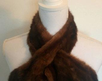 Vintage mink fur collar 1930's satin lined