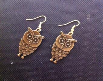 Bronze Owl Earrings, Bronze Owls, Owl Earrings, Owl Jewelry, Bronze Owl Jewelry