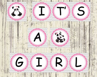 INSTANT DOWNLOAD - Printable panda shower banner - It's a Girl