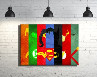 Justice League framed Canvas Wall Art