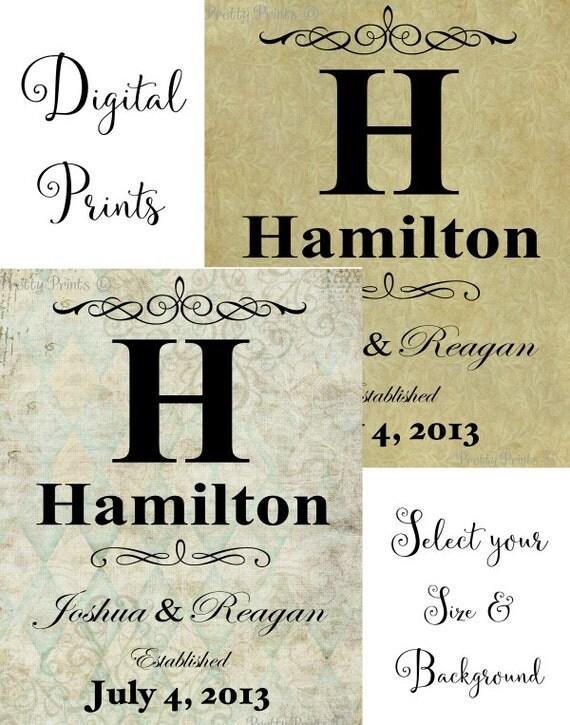 Personalized Family Name Art - Digital Print - Initial Monogram