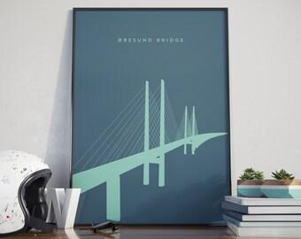 Oresund Bridge, Sweden to Denmark, Sea Blue Edition. Print. Poster.