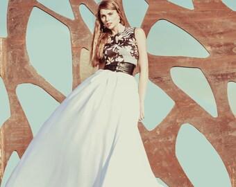 White Satin Skirt that zips in the back