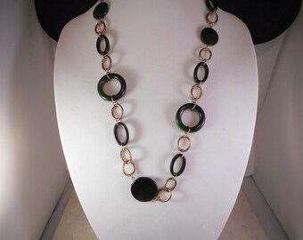 Chain Link Necklace Brass Tone With Dark Green and Black Round Links 28 Inches Long