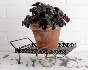 Vintage Wire Plant Holder, Desk or Tabletop Plant Cart, Plant Home Decor