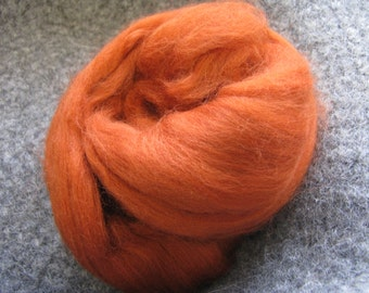 SALE Merino Wool Roving/top 64's 23 Microns - RUST. For Spinning,Wet or Needle Felting, Craft Work.