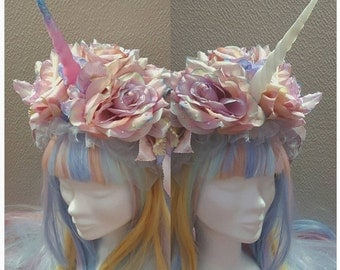 Made to order flowered unicorn headpiece