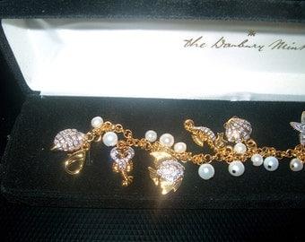 Vintage Danbury Mint Charm Bracelet, Costume Jewelry, Rhinestones, Nautical, New in Box