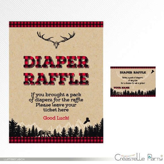 Rustic lumberjack buffalo plaid Diaper Raffle ticket and sign