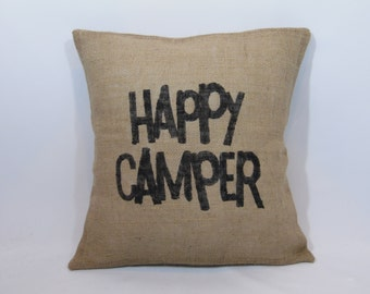 """Custom made rustic country """"Happy Camper"""" black (or custom color) burlap pillow cover/sham - Multiple sizes and customize color option!"""