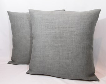 Custom made rustic dark gray burlap pillow cover/sham. Multiple sizes to choose from.