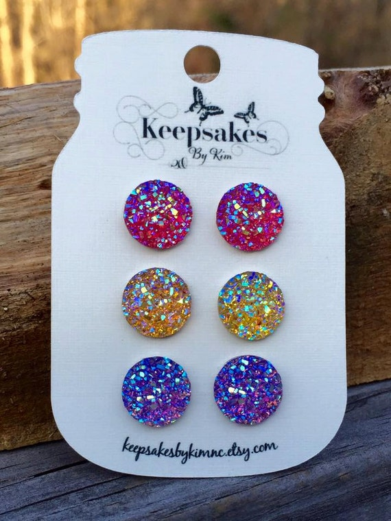 Faux Druzy glitter resin round 12mm stud earrings - Gift for her, Summer colors, Bridesmaid Wedding Jewelry, Teen, Modern, Kawaii, Preppy