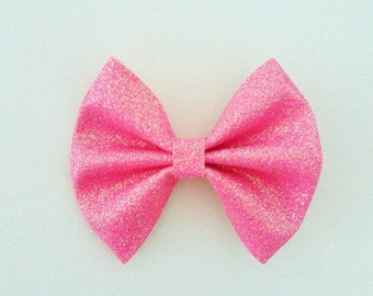 Neon Pink Glitter Bow