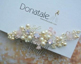 Pink Bridal Headpiece, Bridal Hair Comb ,Crystal Rhinestone Comb,Wedding Hair Accessories, Blush Pink Comb ,Blush Pearl Bridal Comb -ISIDORA