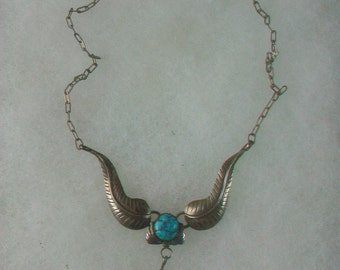 Vintage Sterling Silver Turquoise Feather Necklace Navajo Preowned