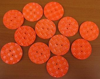 Buttons, orange buttons, round buttons, designer buttons. 12 pcs.
