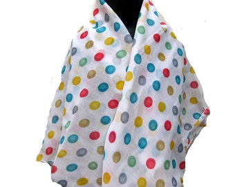 Polka dots scarf/ cotton scarf/ multicolored scarf/ gift  scarf / white scarf /  gift ideas.