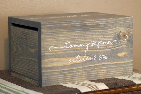 Personalized Wedding Card Box Money Box Rustic By Woodlandedges