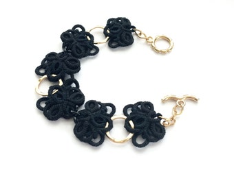 Black and gold lace bracelet, Tatted bracelet, Metal hoop bracelet, Tatting jewelry, Black lace bracelet