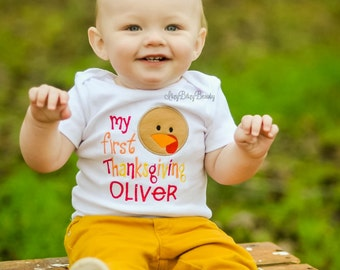 My First thanksgiving, Thanksgiving Outfit, Turkey Day, Turkey Outfit, Personalized Turkey Shirt, Thanksgiving Bodysuit
