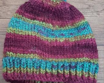 Calico Toddler Hat with Pom Pom