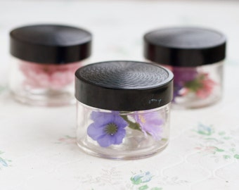 Small Glass Jars with Black Lids - Set of 3 - Art Deco cosmetic containers