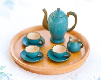 Turquoise Coffee Set - Tiny Pot Tray and Cups Set - Doll's House Miniature - Signed Foreign