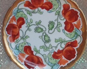 Rare French Plate Jean Pouyat Limoges Poppy Pattern Art Nouveau China Hand Painted Antique Gold Trim Porcelain Edwardian Vintage JPL France