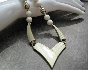 Vintage Ivory Enamel & Beaded Necklace Big Chunky 80s