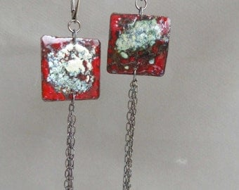 Torch fired enamel copper and silver earrings - Artisan Jewelry by Emilia-M