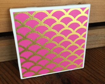 Retro Pink Gold Foil Shell Print Coasters - Set of 4