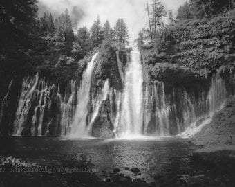 Waterfalls Photo, McArthur Burney Falls California State Park, Waterfall California Nature, Green Forest Blue Water or Black & white Nature