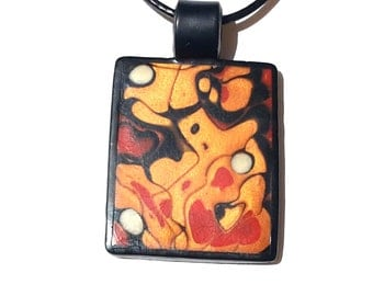Polymer Clay Necklace, Abstract Heart Pendant