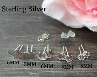 3Pairs Sterling Silver 925 stud earring with glue pad,Flower earring pad,earring blank,Jewelry Supplies,Sterling Silver 925