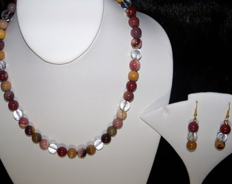 A Lovely Moukaite Necklace, Stretchy Bracelet and Earrings. (2016137)