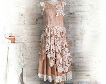 Pink Sunshine Shabby floral lace antique doily layered peasant repurposed country ruffle Boho altered mori maxi Dress upcycled romantic