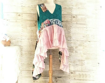 Pink Sunshine Shabby Funky upcycled patchwork floral tiered Boho altered LAYERED blouse artsy Clothing dress top tunic artsy lagenlook L