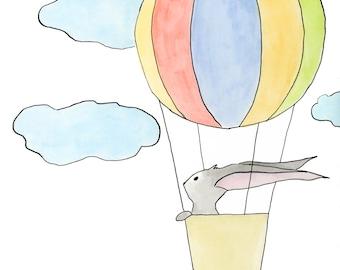 Bunny Print, Nursery Art, Woodland Nursery, Rabbit Bunny Art, Nursery Wall Art, Woodland Animal, Rabbit Nursery, Hot Air Balloon