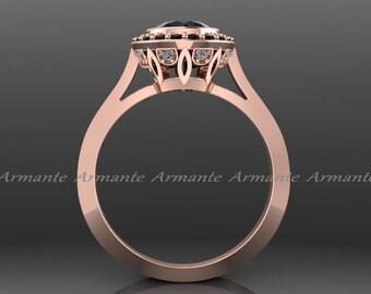Black Diamond Vintage Engagement Ring, Rose Gold Vintage Style Natural Black Diamond Engagement Ring 14k Rose Gold Wedding Ring Re0004rbk