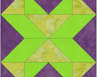 Walking X Origami Paper Template 10 Inch Quilting Block Pattern PDF